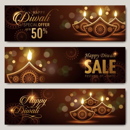 lakshmi: text happy diwali special offer 50 percent off and candle decorations on dark background
