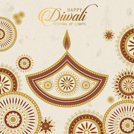 text happy diwali and candle decorations on beige background Stock Photo