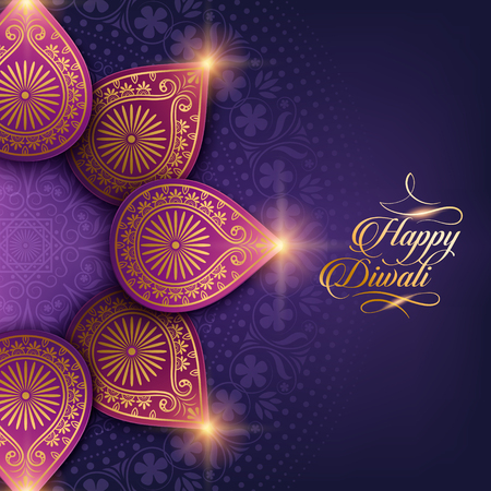 text happy diwali and decorations on purple background