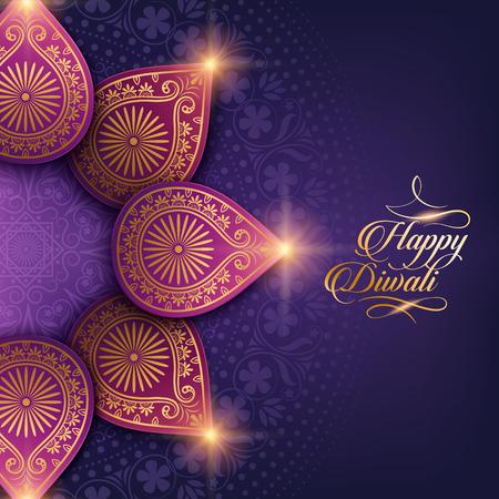 text happy diwali and decorations on purple background 版權商用圖片 - 64190746