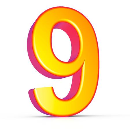 3d rendering golden number 9 isolated on white background, 3d illustration, left leaning