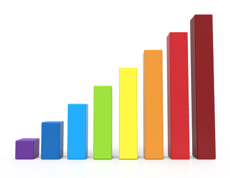 3d rainbow: 3d rendering rainbow colored bar chart, isolated white background Stock Photo