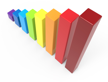 overlook: 3d rendering rainbow colored bar chart, isolated white background, right leaning