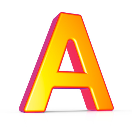3d rendering golden letter A isolated on white background, 3d illustration, left leaning