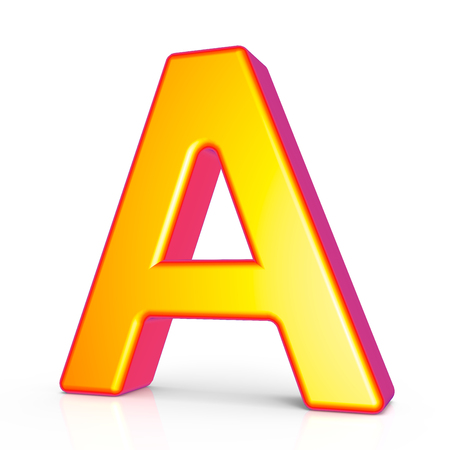 3d rendering golden letter A isolated on white background, 3d illustration, right leaning