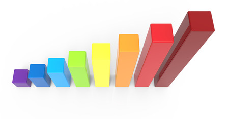 overlooking: 3d rendering rainbow colored bar chart, isolated white background Stock Photo