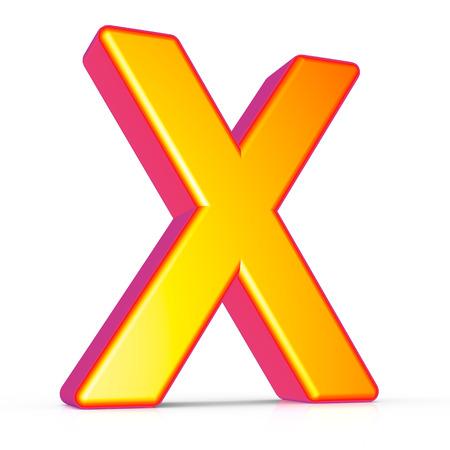3d rendering golden letter X isolated on white background, 3d illustration, left leaning