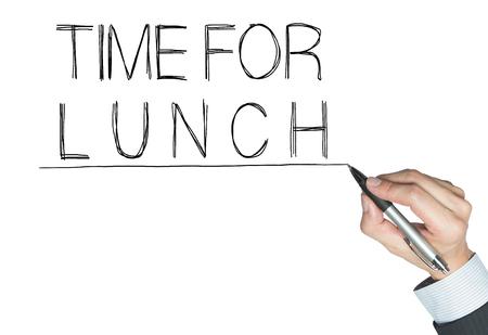 almuerzo: tiempo para el almuerzo escrita a mano, escritura de la mano a bordo transparente, foto