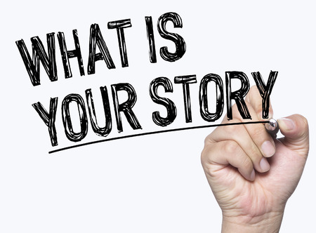 photo story: what is your story written by hand, hand writing on transparent board, photo Stock Photo