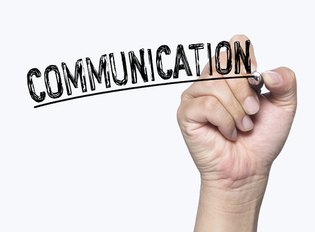 comunicación escrita: la comunicación escrita a mano, escritura de la mano a bordo transparente, foto