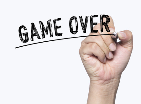 game over written by hand, hand writing on transparent board, photo Stock Photo