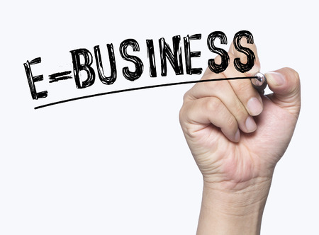 ebusiness: e-business written by hand, hand writing on transparent board, photo