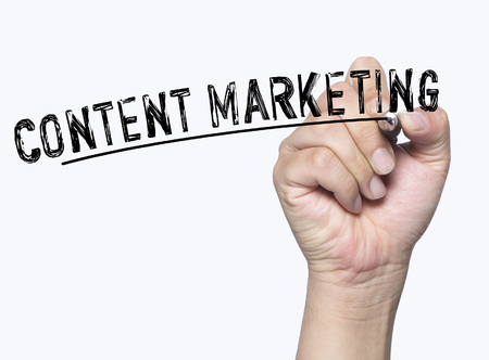 content writing: content marketing written by hand, hand writing on transparent board, photo