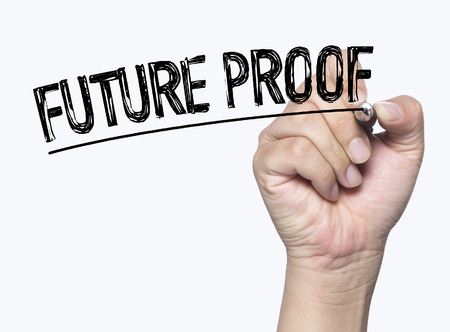proofs: future proof written by hand, hand writing on transparent board, photo Stock Photo