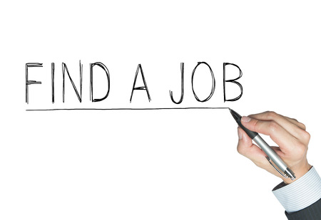 hand job: find a job written by hand, hand writing on transparent board, photo Stock Photo