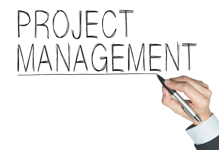 project management written by hand, hand writing on transparent board, photo