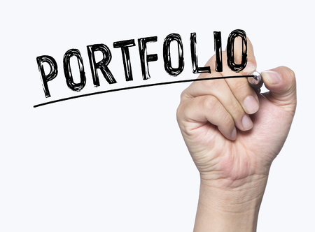 introduce: portfolio written by hand, hand writing on transparent board, photo