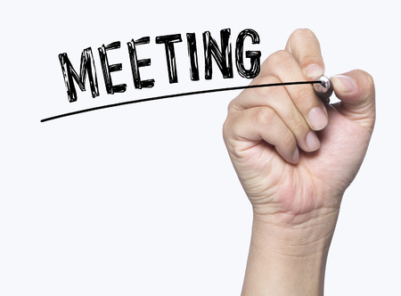 photo board: meeting written by hand, hand writing on transparent board, photo