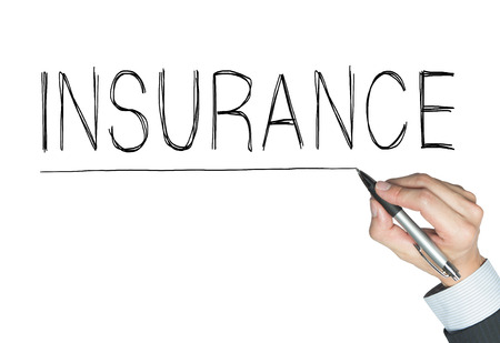 actuary: insurance written by hand, hand writing on transparent board, photo