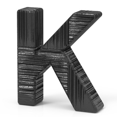 right leaning 3d rendering black wooden letter K isolated white background