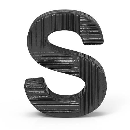 letters clipart: 3d rendering black wooden letter S isolated white background Stock Photo