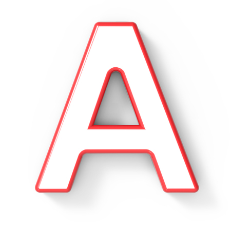 single word: 3d rendering white letter A with red frame isolated on white background, 3d illustration, top view Stock Photo