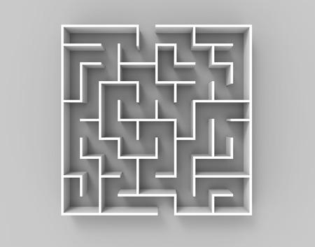 3D-rendering doolhof, bovenaanzicht van vierkante doolhof template die op glanzende vloer