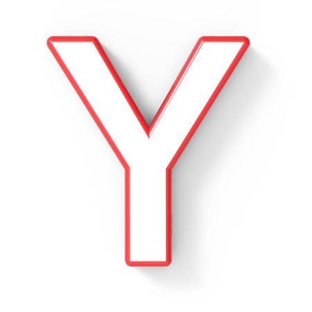 3d rendering white letter Y with red frame isolated on white background, 3d illustration, top view