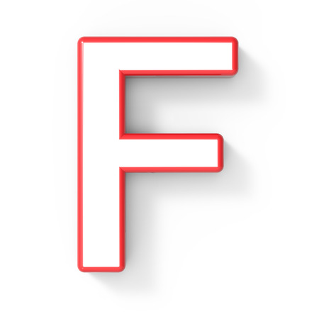 single word: 3d rendering white letter F with red frame isolated on white background, 3d illustration, top view
