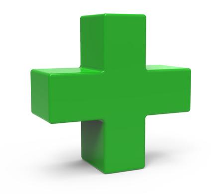 groene plus teken geïsoleerd op een witte achtergrond, links leunen, 3D-rendering