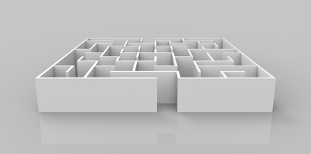 incertitude: 3d rendering maze, small square maze template isolated on glossy floor