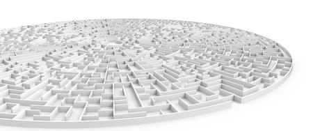 3D-rendering doolhof, enorme ronde doolhof sjabloon geïsoleerd op witte vloer Stockfoto