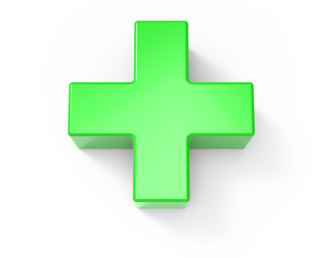 plus icon: green plus sign isolated on white background, 3d rendering