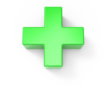 groene plus teken geïsoleerd op een witte achtergrond, 3D-rendering