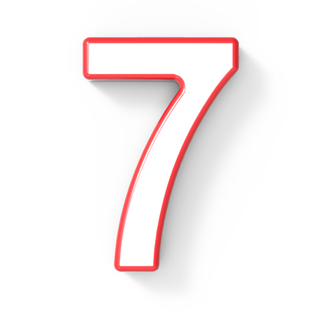 top 7: 3d rendering white number 7 with red frame isolated on white background, 3d illustration, top view