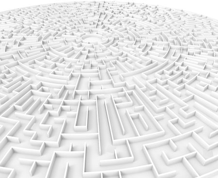 incertitude: 3d rendering maze, huge round maze template isolated on white floor