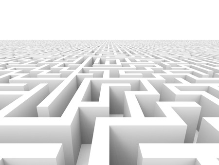 incertitude: 3d rendering maze, huge maze template isolated on white floor