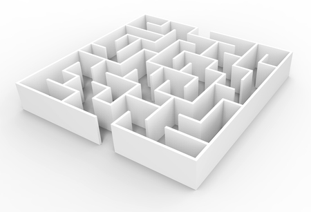 floor plans: 3d rendering maze, small square maze template isolated on white floor Stock Photo
