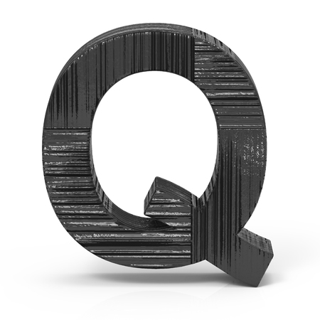 3d rendering black wooden letter Q isolated white background