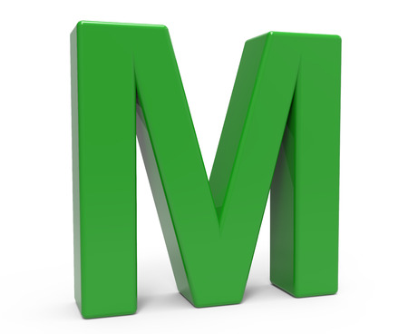 studying computer: left leaning 3d rendering green letter M isolated white background