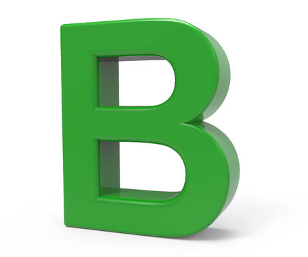 right leaning 3d rendering green letter B isolated white background Stock Photo