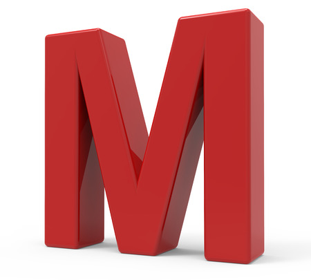 right leaning 3d rendering red letter M isolated white background