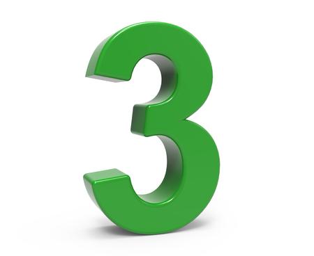 left leaning 3d rendering green number 3 isolated white background Standard-Bild