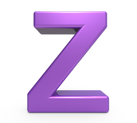 single word: 3d rendering purple letter Z isolated white background