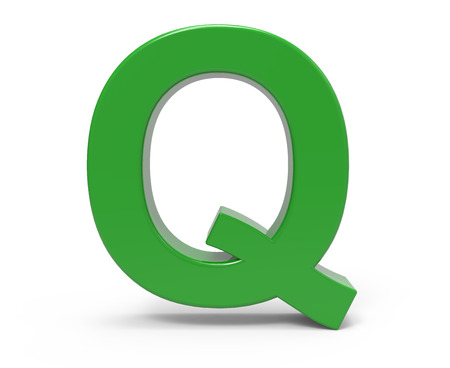 3d rendering green letter Q isolated white background