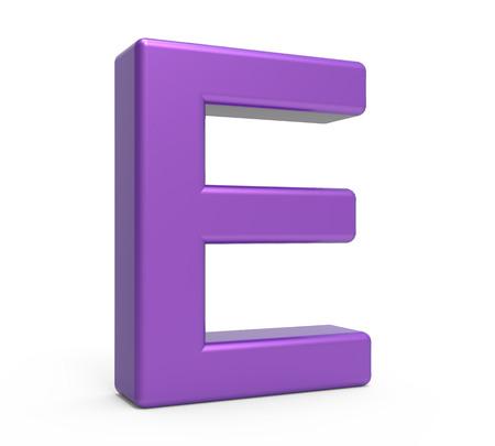 e white: left leaning 3d rendering purple letter E isolated white background Stock Photo