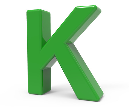 right leaning 3d rendering green letter K isolated white background Stock Photo
