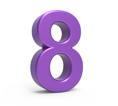 left leaning 3d rendering purple number 8 isolated white background Stock Photo