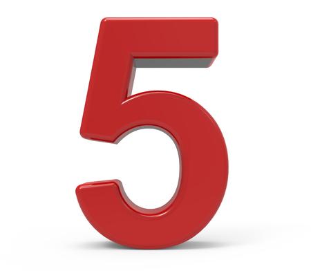 3D-rendering rood nummer 5 geïsoleerde witte achtergrond Stockfoto
