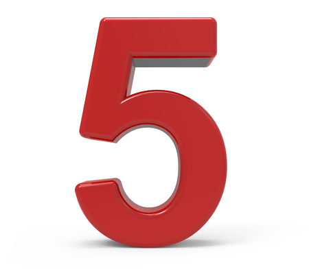 Representación 3d número rojo 5 aisló el fondo blanco Foto de archivo - 64606068